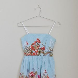 Strapless mint floral dress